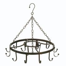 Hanging Pot Rack Ceiling, Cast Iron Pot Rack Black, Overhead Circular Po... - $53.58