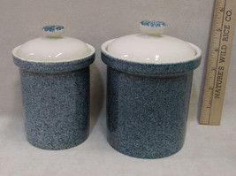 Set 2 Canister Jars w/ Lid Cover Ceramic Pottery Blue Speckled 2 Sizes C... - $14.84