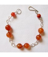 Sterling Silver and Carnelian Bracelet with Infinity Links - $30.00