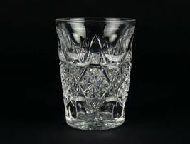 Brilliant Cut Overlapping Star Band & Thumbprint Tumbler Glass, Antique ... - $53.90