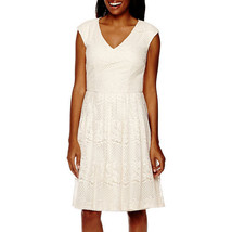 Liz Claiborne Sleeveless Natural Lace A-Line Dress Size 4 Msrp $86.00 New - $21.99
