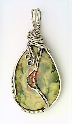 Rainforest Jasper Opal Titanium Copper Wire Wrap Pendant 16