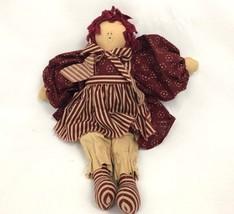 Folksy Primitive Rag Doll Raggedy Ann Hand Drawn Face Country - $19.79