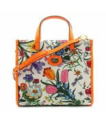 Gucci Floral Medium Orange Leather Trimmed Printed Canvas Tote Bag - $1,299.00
