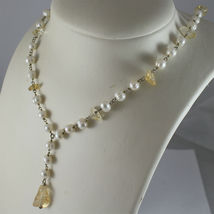 .925 RHODIUM SILVER NECKLACE, SCARF,WHITE BAROQUE PEARLS, YELLOW CRACK CRISTALS. image 4