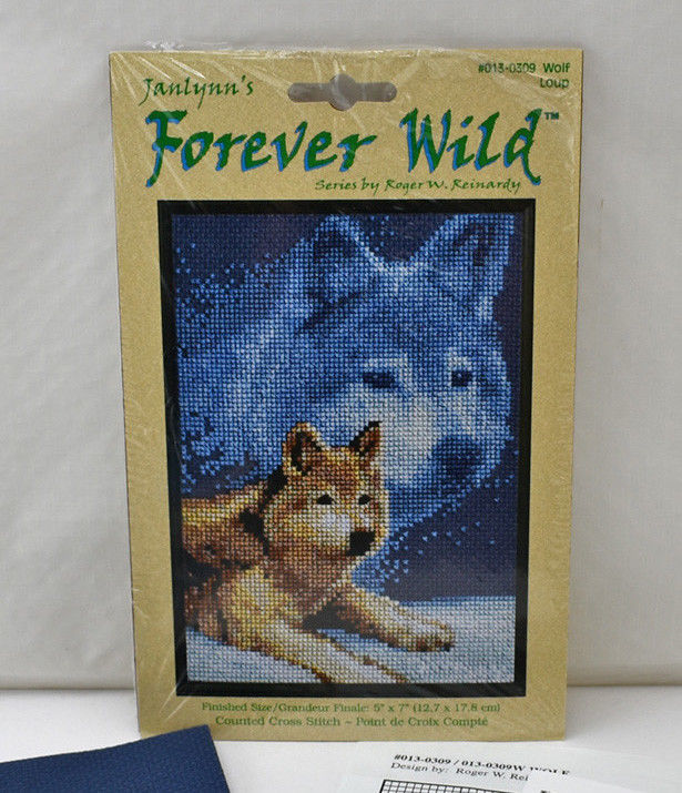 Primary image for Janlynn Forever Wild Wolf Counted Cross Stitch Kit #013-0309 - Opened & Complete