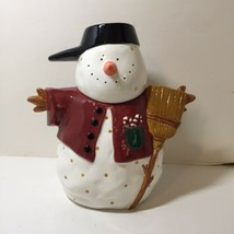 "Snowman Cookie Jar Debbie Mumm Sakura Earthenware 10.5"" - $24.18"