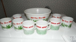 VINTAGE HAZEL ATLAS CHRISTMAS EGG NOG PUNCH BOWL SET TOM & JERRY BOWL AN... - $74.20