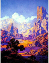 Arizona, 1950, Maxfield Parrish, Desert, fantasy Landscape, antique art ... - $18.99