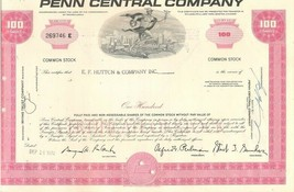 The Penn Central Railroad Company Stock Certificate 100 Shares E.F.Hutton - $1.99