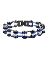 Womens Ladies Stainless Steel Silver Black Blue Bike Chain Bracelet USA ... - $17.77+