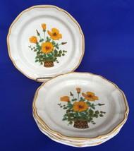 Set of 4 Mikasa Salad Dessert Plates Garden Club Petunias Vintage 8 Inch Petunia - $16.58