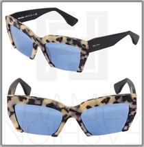 Miu Miu Rasoir 11O MU11OS Cat Eye Matte Havana Sand Blue Mirrored Sunglasses - $247.50