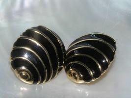 Estate Napier Signed Black Enamel & Goldtone Abstract Sea Shell Post Earrings image 2