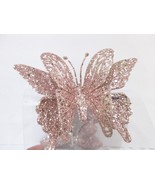 """(3) Christmas Shabby Chic Pink Glitter 5"""" Butterfly Ornaments Decorations - $19.99"""