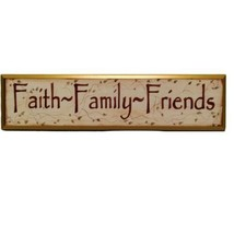 """Faith Family Friends Painted Wooden Wall Hanging Sign 4.5"""" Tall by 20"""" Long - $33.69"""