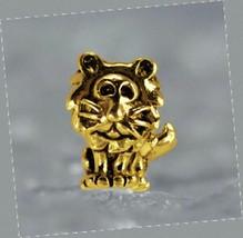 LOOK King Lion Charm European bead for bracelet Gold plated Sterling SilverJewel - $17.80