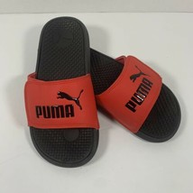 Puma Slides Flip Flop Sandal Sz 2 Youth High Risk Red/Black Cool Cat Jr - $14.99