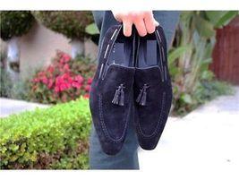 Handmade Men's Blue Suede Two Tone Slip Ons Loafer Tassel Shoes image 3