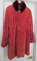 TERRY LEWIS Retro Suede Leather Coat Jacket Detach Faux Fur Collar Red M... - $39.95