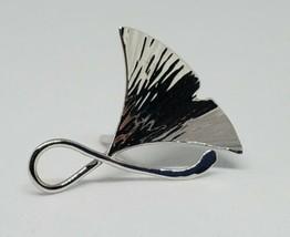 14k White Gold Gingko Leaf Tie Tack Pin 1.56g - £53.70 GBP