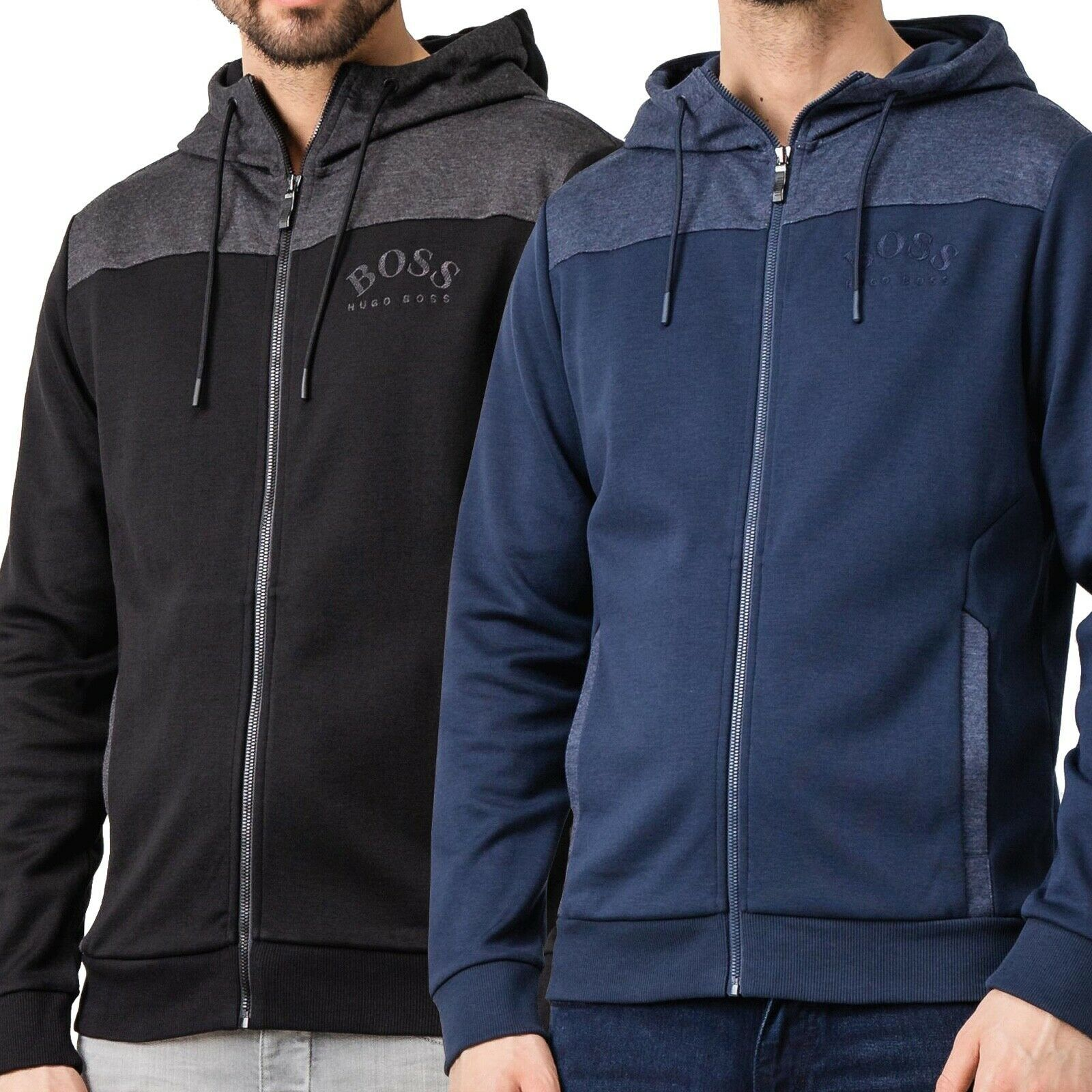 Hugo Boss Men's Premium Zip-Through Hoodie Sweatshirt Jacket With Curved Logo