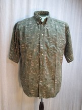 m606 Woolrich Fishing Fish Rods Reels Shirt Heavy Cotton Khaki Green Sz ... - $23.13
