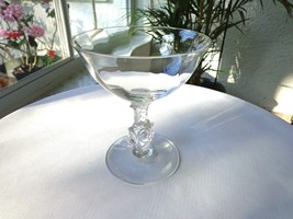 Set of 4 Heisey Rose Stem Optic Bowl Champagne Glasses - $26.73
