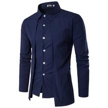 Men'S Shirts 2018 Long-Sleeved Casual Fake Two Pieces Chemise Homme Soli... - $38.08+