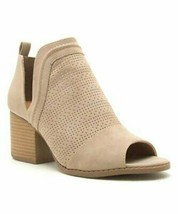 Qupid, Light Taupe Perforated Core Peep-Toe Bootie, Sz 10 - $30.69