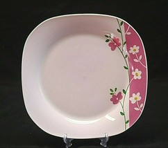 "Classic Style Gibson Everyday China 9-3/4"" Square Dinner Plate Pink Whit... - $19.79"