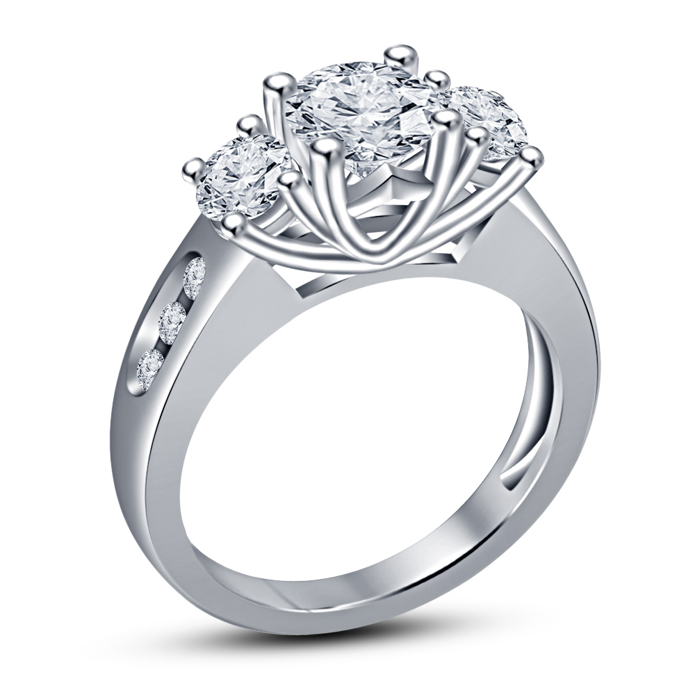 Primary image for 14k White Gold Plated 925 Sterling Silver Round Cut Sim Diamond Three Stone Ring