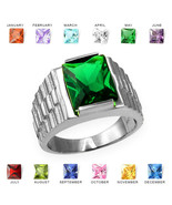 Sterling Silver Mens Square CZ Birthstone Watchband Ring - $64.99