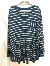 lane bryant 26/28 Hi Low top Long-sleeve. Blue And Gray Striped. - $15.00