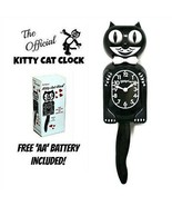 "BLACK KITTY CAT CLOCK (3/4 Size) 12.75"" Free Battery MADE IN USA Kit-Cat... - $49.99"