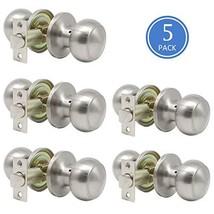 Door Knob Set of 5 Pack Passage Door Lock Brushed Nickel Interior Keyless Flat D