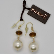 SOLID 18K YELLOW GOLD EARRINGS WITH WHITE PEARL AND BEER QUARTZ MADE IN ITALY image 2