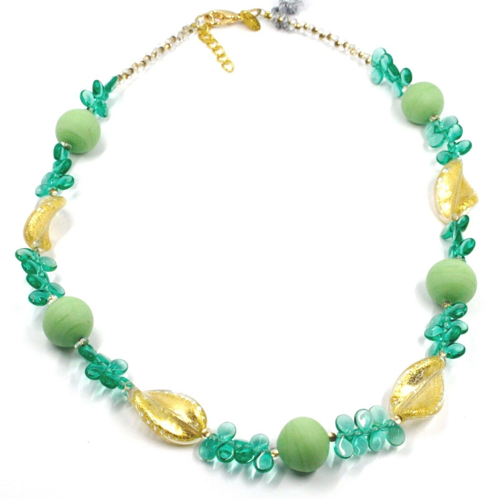 NECKLACE PETALS DROPS, SATIN SPHERE SPIRAL WAVE GREEN YELLOW MURANO GLASS ITALY