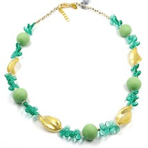 NECKLACE PETALS DROPS, SATIN SPHERE SPIRAL WAVE GREEN YELLOW MURANO GLASS ITALY image 1