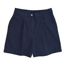"RALPH LAUREN Navy Blue Cotton Pleated Walking Casual Shorts Petite 6 / 26"" Waist - $4.94"