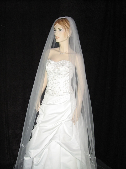 1 Tier White Cathedral Embroider Wedding Veil 100x100 v78wt