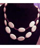 PINK  MArble   & pearls 2 Strand necklace BIG BOLD HAndmade - $28.00