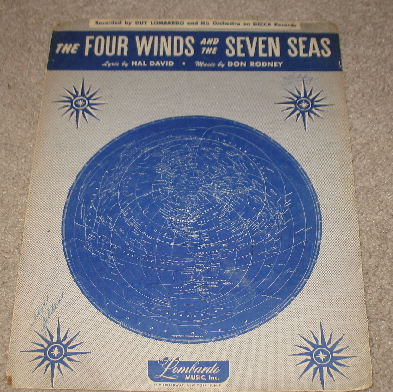 The Four Winds & the Seven Seas Sheet Music 1949