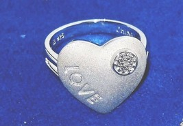 Sterling Silver Heart Ring Diamond Accent size 8  LOVE VALENTINES Day - $27.37
