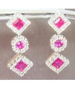 Princess Cut 1.25ct Ruby Diamond Halo Dangle Dr... - $788.88
