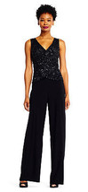 Adrianna Papell Dress Jersey Jumpsuit with Sequin Beaded Bodice, Black, 16 - $118.79