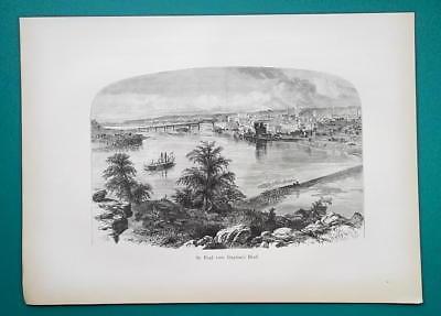 ST. PAUL Minnesota View from Dayton's Bluff - 1883 German Print