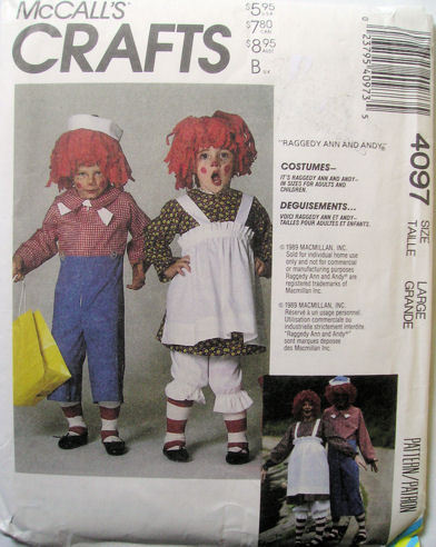 4097 McCalls Raggedy Ann Andy Costume Adult Large NEW