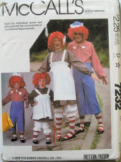 7232 McCalls Raggedy Ann Andy Costume Child's 10-12 NEW