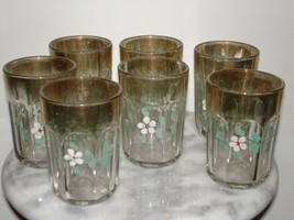 U.S. Glass Colonis Set of 7 Enamel and Gold Decorated Tumblers - $65.45